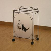 川口工器 ゴミ箱 黒猫モチーフ付きスチールダストボックス Mサイズ フレームブラック 1台 (直送品)