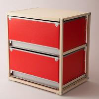 スタックスト-(stacksto) trunk2(トランク2) レッド 引き出し2段 (直送品)