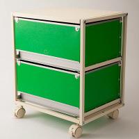 スタックスト-(stacksto) trunk2(トランク2) グリーン 引き出し2段 キャスタータイプ (直送品)