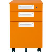 Garage(ガラージ) スチール製カラーワゴン 3段 カラーマルシェ SH-046SC-3 橙 マンダリンオレンジ (直送品)