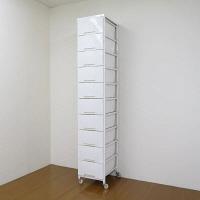 マリン商事 大容量プラスチックチェスト 10段 幅360×奥行480×高さ2000mm ホワイト (直送品)