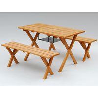 ガーデニング用品 YAMAZEN Gardenmaster ピクニックガーデンテーブル&ベンチ(3点セット)BBQ仕様 PTS-1207BS(直送品)