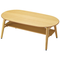 Yoshikei (吉桂) CSリビングテーブル オーバル型 ナチュラル 幅1000×奥行500×高さ380mm 1台 (直送品)