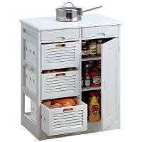 ファミリー・ライフ 木製キッチンワゴン 幅570mm ホワイト  (直送品)