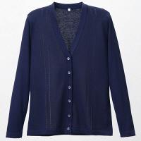 D-PHASE(ディーフェイズ) 綿混透かし編カーディガン 女性用 長袖 濃紺 3L D1009 (直送品)