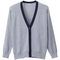 D-PHASE(ディーフェイズ) 抗ピル配色カーディガン 女性用 長袖 杢グレー×濃紺 S D1013 (直送品)