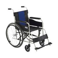 ミキ 車いす 背固定 FE-3 本体 ブルー 400mm 自走用 スチール製 1台 (直送品)