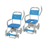 ウチヱ くるくるチェアD(O型シート) 本体 キャスター付き 肘掛け跳ね上げ式・背付き KRU-172 1台 入浴用車椅子 (直送品)