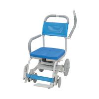 ウチヱ くるくるチェアD(穴無しシート) 本体 キャスター付き 肘掛け跳ね上げ式・背付き KRU-173 1台 入浴用車椅子 (直送品)