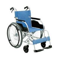 松永製作所 車いす ECO-201B 本体 ブルー 自走用 背折れ式 アルミ製 介助ブレーキ付き 1台 (直送品)