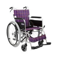 カワムラサイクル 車いす 紫チェックA11 KA102SB-40 自走用 背折れ式 アルミ製 介助ブレーキ付き (直送品)