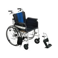 ミキ 横乗り車いすラクーネ2 ブルー(S7W4) LK-2 自走用 背折れ式 アルミ製 介助ブレーキ付き (直送品)