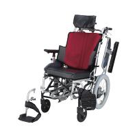車いす ワインレッド NAH-F5 日進医療器 介助用 背折れ式 アルミ製 介助ブレーキ付き リクライニング・ティルト (直送品)