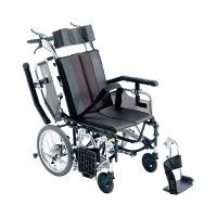 ミキ 車いす グレー TRC-1 介助用 背折れ式 アルミ製 介助ブレーキ付き リクライニング・ティルト (直送品)