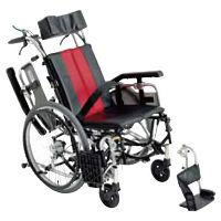 ミキ 車いす レッド TR-1 自走用 背折れ式 アルミ製 介助ブレーキ付き リクライニング・ティルト (直送品)