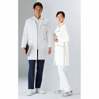 KAZEN レディスコート診察衣(ハーフ丈) ドクターコート 医療白衣 長袖 オフホワイト×ネイビー シングル S 126-18 (直送品)