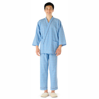 KAZEN 患者衣(スラックス) 男女兼用 ブルー L 286-71 (直送品)