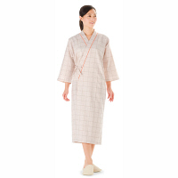 KAZEN 患者衣ガウン (検査着 検診衣) 男女兼用 ベージュ LL 289-72 (直送品)
