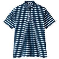 【メーカーカタログ】ボンマックス チェックプリントポロシャツ(半袖) ネイビー L FB4523U 1枚 (直送品)