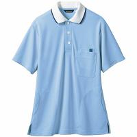 【メーカーカタログ】 住商モンブラン ポロシャツ(男女兼用) ブルー/白 M 32-5033-M 1枚 (直送品)