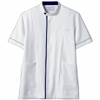 住商モンブラン メンズジャケット 半袖 白/ネイビー LL 72-1238 (直送品)