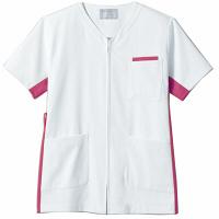 住商モンブラン ジャケット(男女兼用) 半袖 白/バーガンディ 3L 72-642 (直送品)