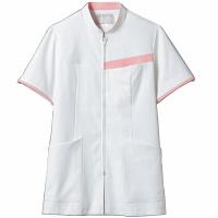 住商モンブラン レディスジャケット 半袖 白/ピンク LL 73-2082 (直送品)