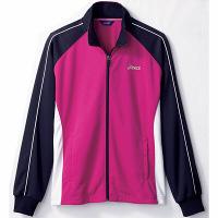 住商モンブラン アシックス 医療白衣 ジャケット(男女兼用) ピンク/白×ネイビーO CHM505-5024-O 1枚 (直送品)