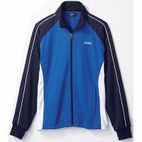 住商モンブラン アシックス 医療白衣 ジャケット(男女兼用) ブルー/白×ネイビーL CHM505-5045-L 1枚 (直送品)