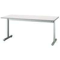 アイリスチトセ ミーティングテーブル T字脚(メラミン焼付塗装) ホワイト 幅1500×奥行750×高さ700mm 1台 (直送品)