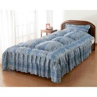 枕カバー付きシルク混ベッド布団ダブル ブルー 0304120 ファミリー・ライフ 1枚 (直送品)