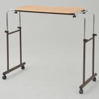 YAMAZEN 伸縮式ベッドテーブル 幅1100-1500×奥行500×高さ680-945mm ナチュラル/ブラウン BTT-8040 1台 (直送品)