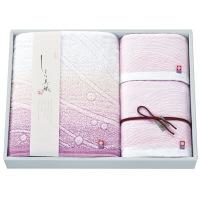 今治タオルギフト しまな美織 渚 バスタオル1枚 フェイスタオル1枚 ウォッシュタオル1枚 ピンク (直送品)