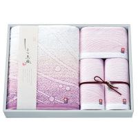 今治タオルギフト しまな美織 渚 バスタオル1枚 フェイスタオル2枚 ウォッシュタオル1枚 ピンク (直送品)