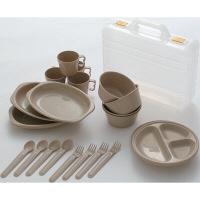CampersCollection(キャンパーズコレクション) デイパーティー食器セット (4人用6種類) ケース付 ナチュラル PCW-12 24個(直送品)