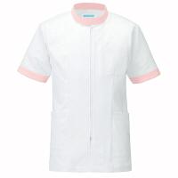 KAZEN ジャケット半袖男女兼用 医療白衣 ピンク 3L 247 (直送品)