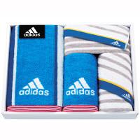 タオルギフト adidas リスト スポーツタオル1枚 フェイス2枚 タオルハンカチ1枚 箱入り ブルー (直送品)