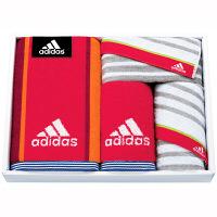 タオルギフト adidas リスト スポーツタオル1枚 フェイス2枚 タオルハンカチ1枚 箱入り レッド (直送品)