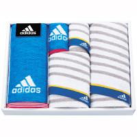 タオルギフト adidas リスト スポーツタオル2枚 フェイス1枚 タオルハンカチ2枚 箱入り ブルー (直送品)