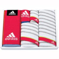 タオルギフト adidas リスト スポーツタオル2枚 フェイス1枚 タオルハンカチ2枚 箱入り レッド (直送品)