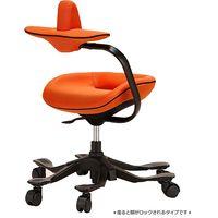 吉桂 iPole5(アイポール5) オフィスチェア ストッパー付キャスター ファブリック オレンジ J0086 1脚 (直送品)