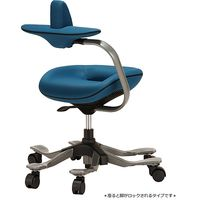 吉桂 iPole5(アイポール5) オフィスチェア ストッパー付キャスター ファブリック ブルー J0089 1脚 (直送品)