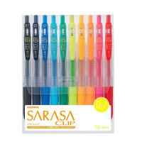ゼブラ ボールペン 水性顔料インク ノック式 サラサクリップ 0.7mm 10色セット JJB15-10CA 1セット(10本入り)(直送品)