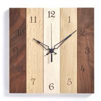 壁掛けクォーツ時計 スクエア ウォルナット ナラ メープル 1個 ササキ工芸 (直送品)