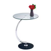 あずま工芸 Brass(ブラス) サイドテーブル ガラス天板 クロムメッキ 幅460×奥行460×高さ555mm (直送品)