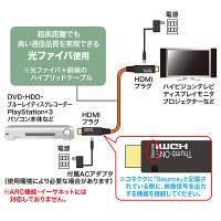 サンワサプライ HDMI光ファイバケーブル(フルHD/3D対応) HDMI[オス]-HDMI[オス] 50m KM-HD20-FB50 (直送品)