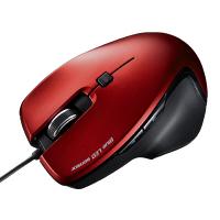 サンワサプライ 有線マウス レッド Mサイズ ブルーLED方式/5ボタン/エルゴノミクスデザイン/カウント切替ボタン付 MA-S1R 1個 (直送品)
