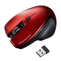 サンワサプライ無線(ワイヤレス)マウス Mサイズレッド ブルーLED方式/5ボタン/エルゴノミクスデザイン/カウント切替ボタン付 MA-SW1R 1個(直送品)