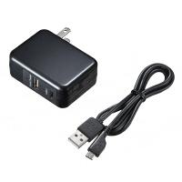 サンワサプライQuickCharge 3.0対応AC充電器 USB×1ポート/USB TypeCポート×1[合計3A] ACA-QC43CUBK 1個(直送品)