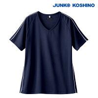 住商モンブラン JUNKO KOSHINO ニットスクラブ 男女兼用 半袖 ネイビー/白 L JK212 (直送品)